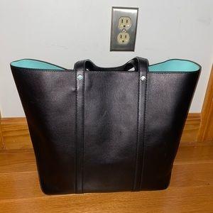 Clutch Shopper Detachable Black Blue Leather Tote